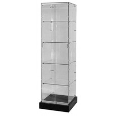 "Frameless glass tower display -14""Lx14""Wx66""H-"